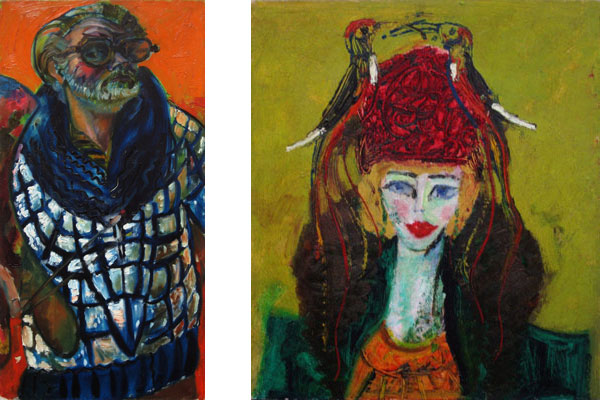 Sven Berlin - 'Self Portrait in Blue & White Jacket' and 'Woman with Bird Hat'