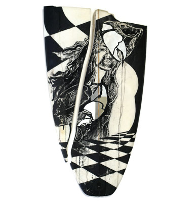 Tess Sheerin - Glass Lass, 2010. Surfboard, charcoal, blackboard paint & mirror; 91 x 50 cms