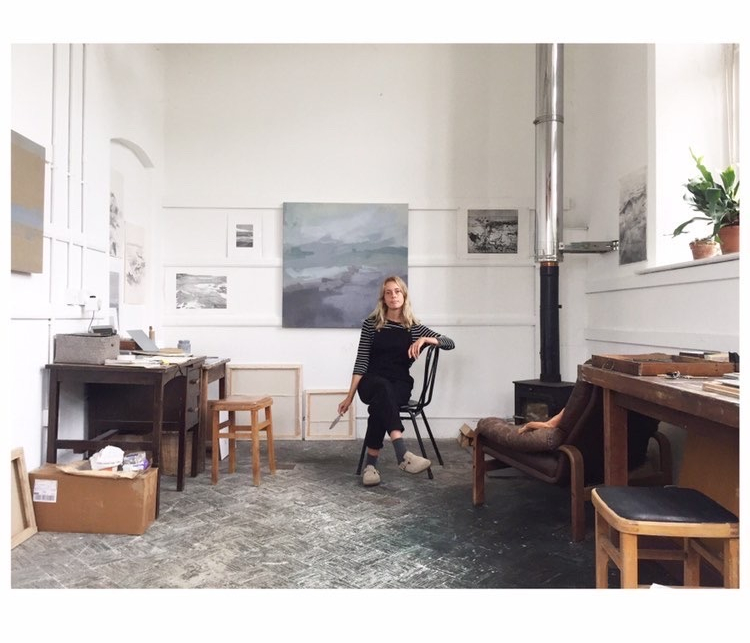 Sarah Woods in Cornish Studio. Painter and printmaker. Belgrave St Ives. Contemporary Art.